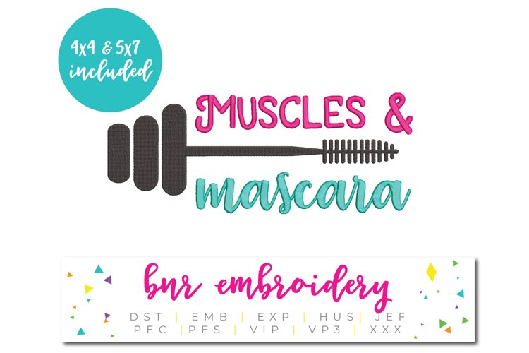 Muscles and Mascara Machine Embroidery Design example image 1