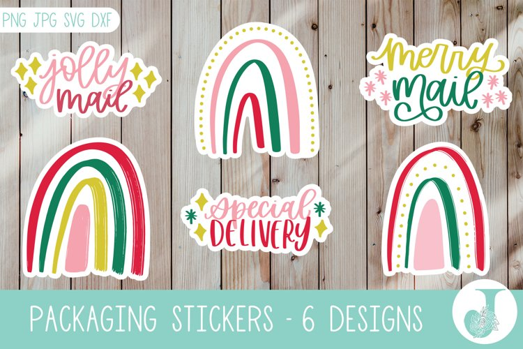 Packaging Sticker Pack, Christmas Stickers, Print then Cut example image 1