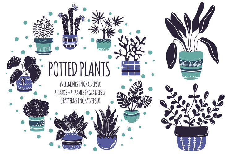 Potted Plants - Vector Collection example image 1