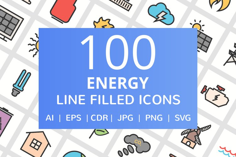 100 Energy Filled Line Icons example image 1