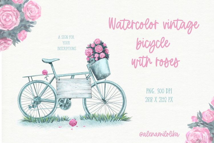 Watercolor vintage bicycle with roses. French style