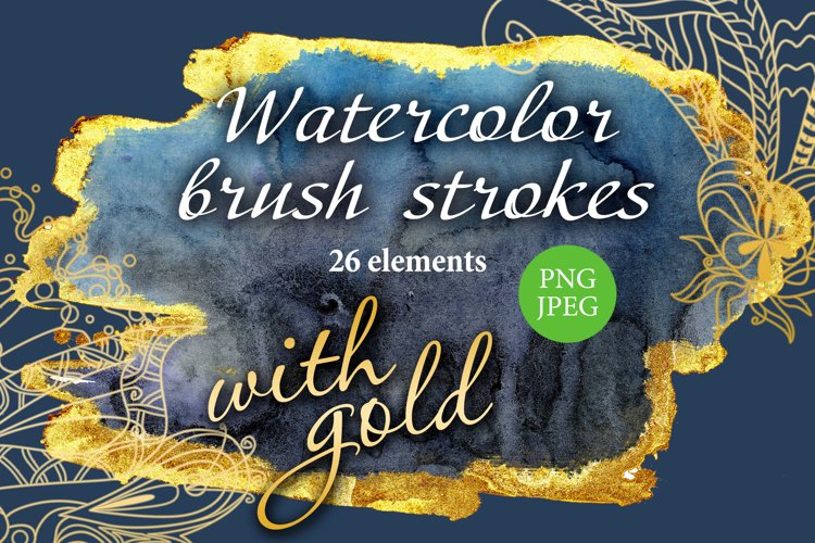 Watercolor brush strokes with gold