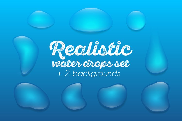 Realistic waterdrops set example image 1