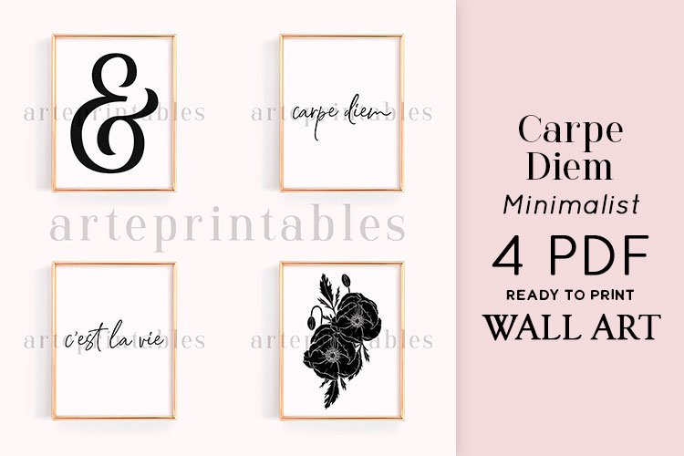 Carpe Diem Floral Black and White Wall Art example image 1