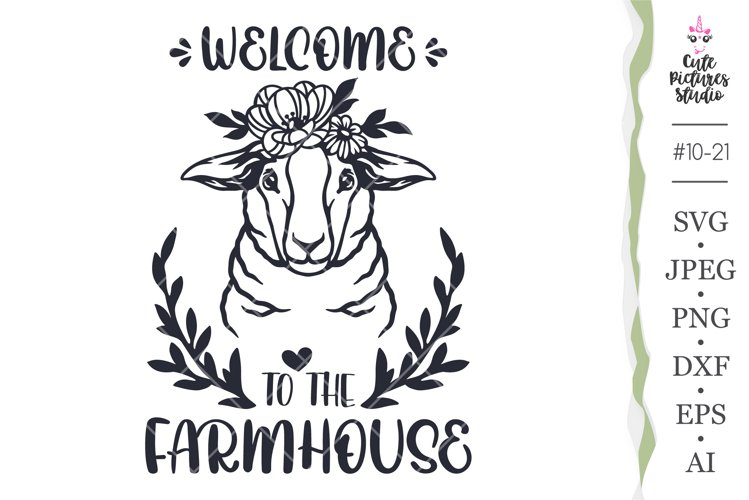 Welcome Farmhouse sign svg, Sheep in flower crown Cricut svg
