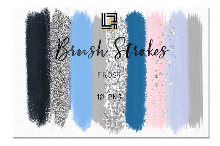 Brush Strokes Clip Art. Frost. Winter clipart.  Blue, grey, silver, glitter silver, pink, purple strokes.  Digital Design Resource. example image 1
