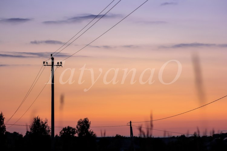 Electricity, nature, sunset concept. example image 1