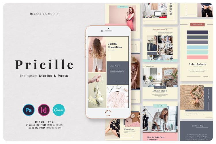 PRICILLE Instagram Pack | Canva, PSD example image 1