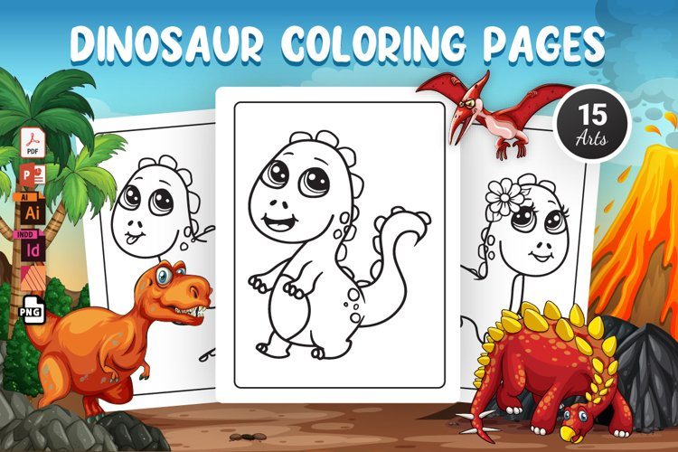 Dinosaur Coloring Pages - KDP Interior
