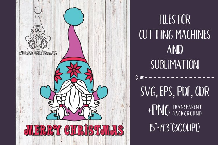 Merry Christmas - Nordic Gnome SVG example image 1