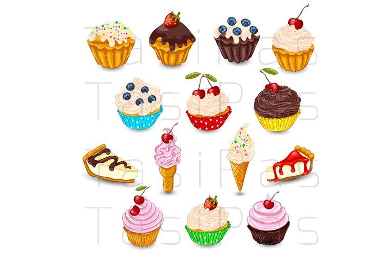 Set of vector desserts.