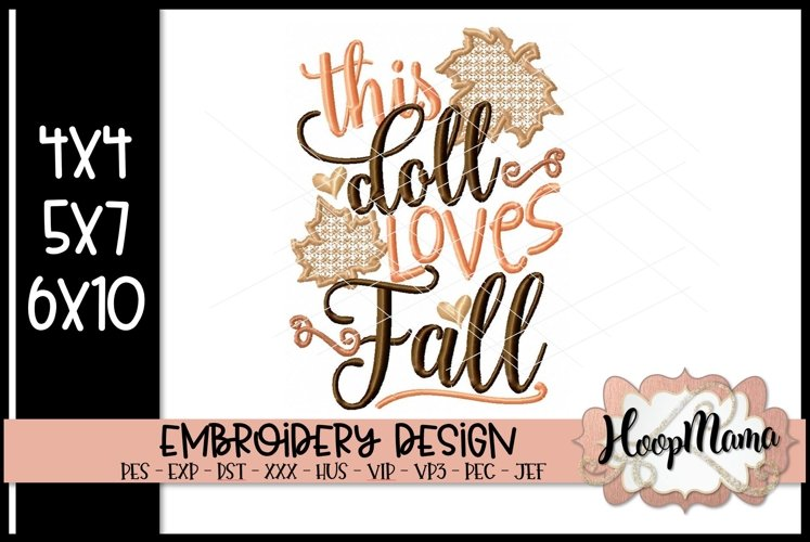 This Doll Loves Fall- Thanksgiving Embroi example image 1
