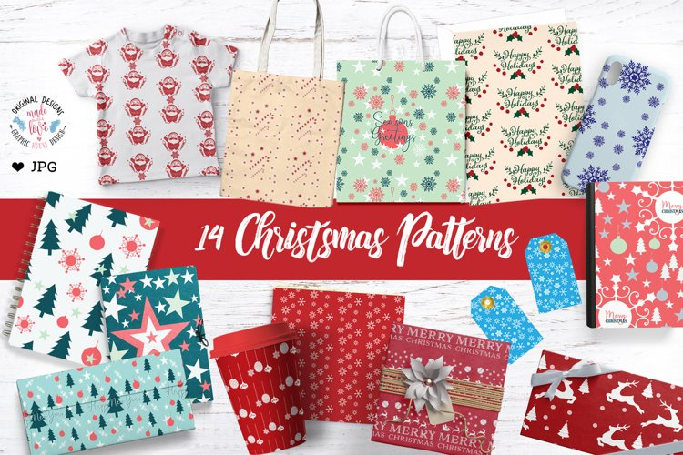 Christmas Digital Paper - Patterns example image 1