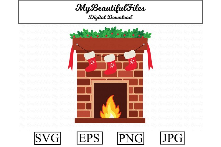 Fireplace SVG - Cute Christmas SVG, EPS, PNG