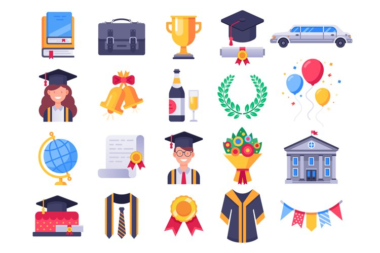 Graduation day icons. College graduate students party, gradu example image 1