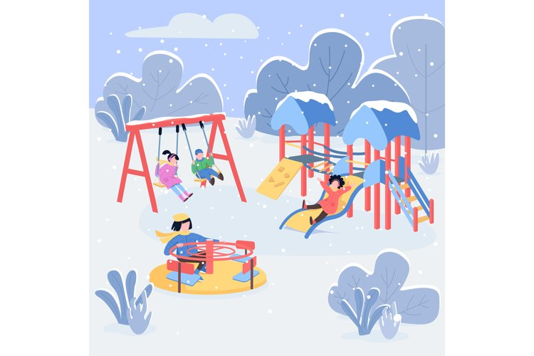 Winter playground flat color vector illustration example image 1