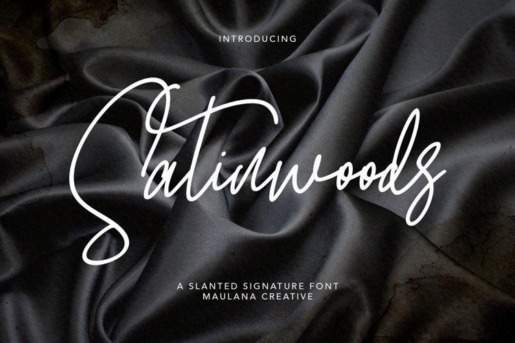 Satinwoods Slanted Signature Font example image 1