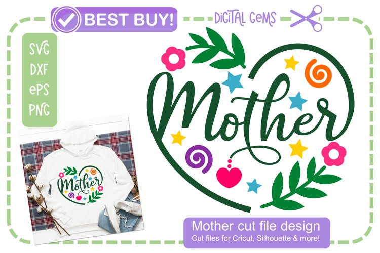 Mother, Heart design. SVG / DXF / EPS files