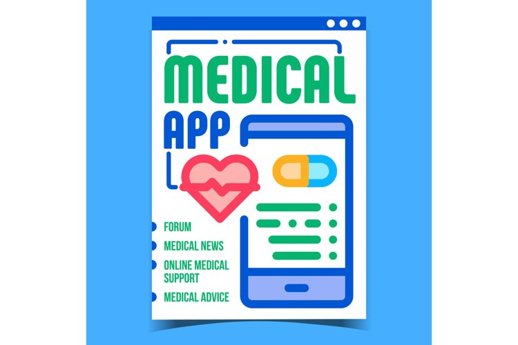Medical App Creative Promotional Poster Vector