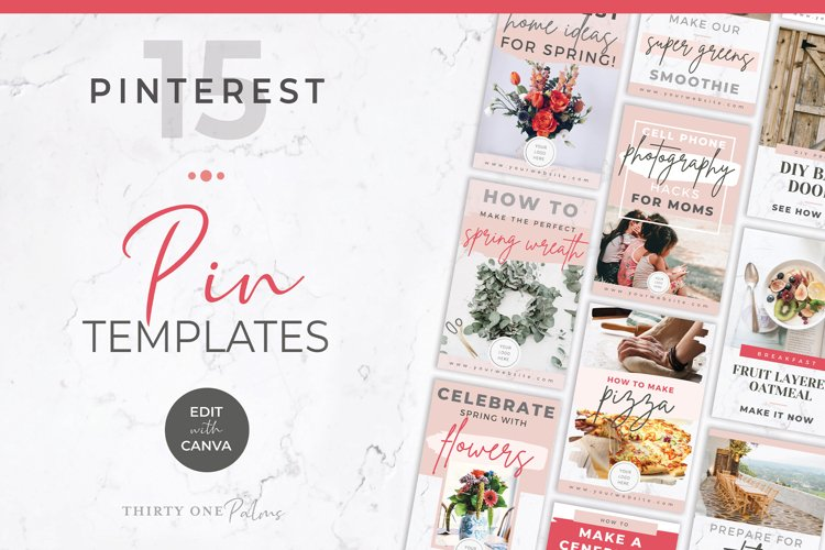 Pinterest Templates for Canva | Pin Templates | Pink & Grey example image 1
