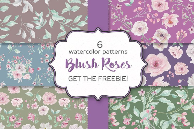 Set of 6 watercolor patterns - blush and grey roses