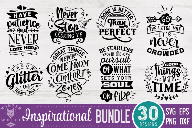 Inspirational Bundle 30 designs SVG DXF PNG EPS example image 1