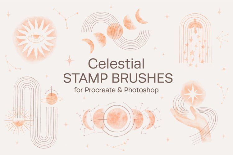 Watercolor Celestial Stamp Brushes for Procreate & Photoshop example image 1