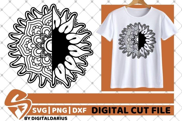 Sunflower Mandala svg, Summer svg, Wedding svg, Zentangle example image 1