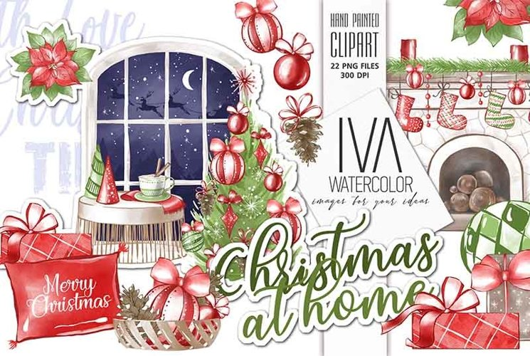 Christmas Clipart, Christmas fireplace Clipart