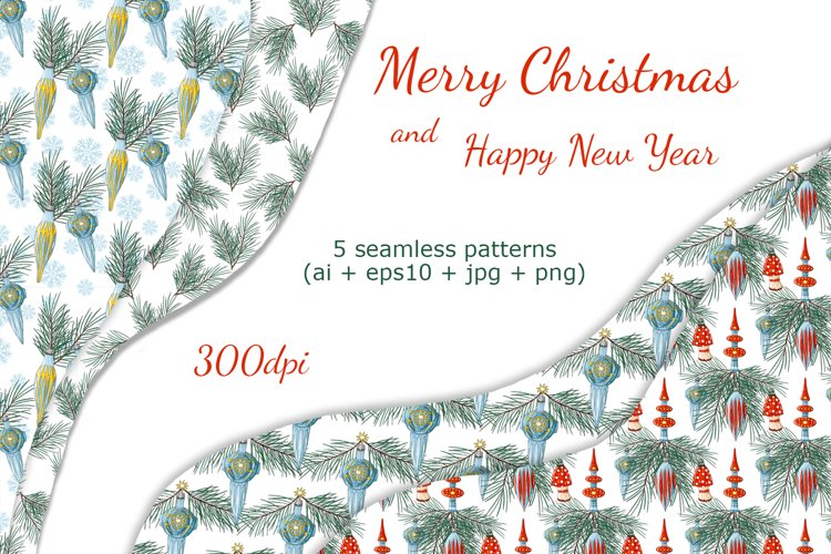 Christmas seamless patterns. Digital vector backgrounds. example image 1
