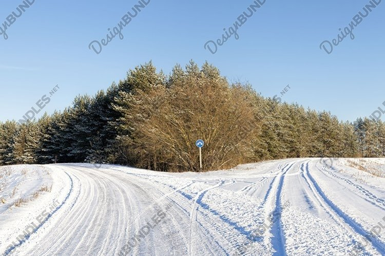winter time on a narrow rural highway example image 1