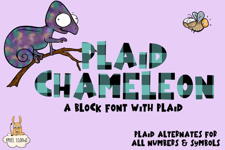 Plaid Chameleon A Block Font with Plaid example image 1