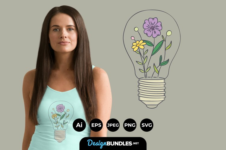 Light Bulb with Flowers for T-Shirt Design