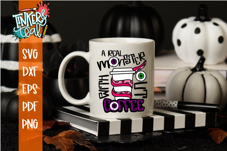 A Real Monster Without Coffee Halloween SVG Cut File example image 1