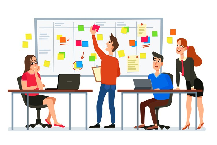 Scrum board meeting. Business team planning tasks, office wo example image 1