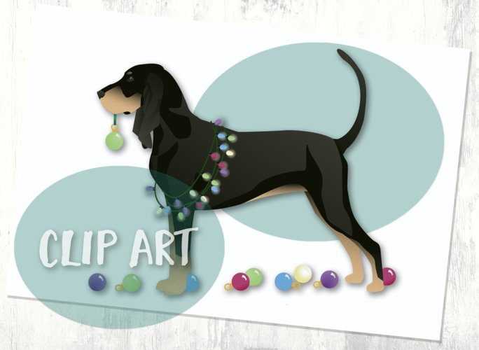 Black and Tan Coonhound Christmas Clip Art example image 1