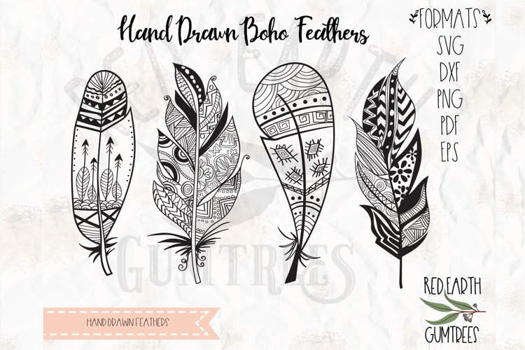 Boho feathers bundle, Tribal feathers in SVG,DXF,PNG, EPS example image 1