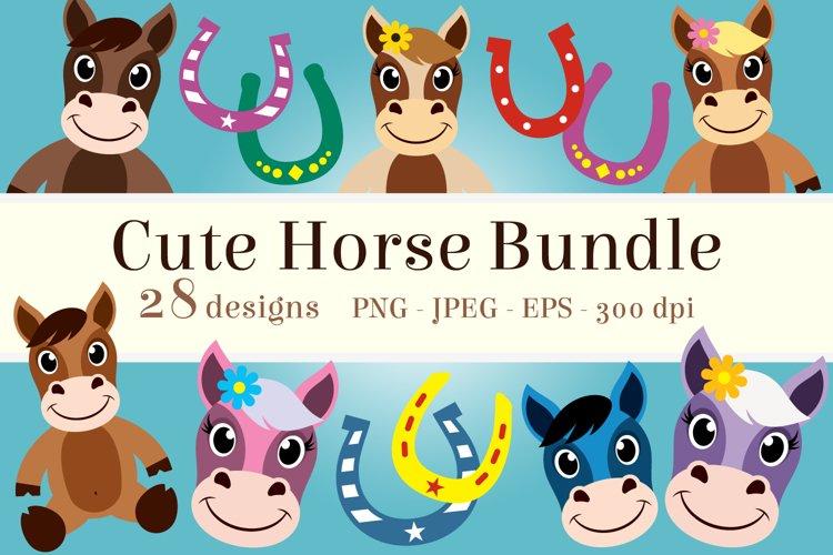 Cute Horse Clipart Bundle, Happy Face, PNG, JPEG, EPS