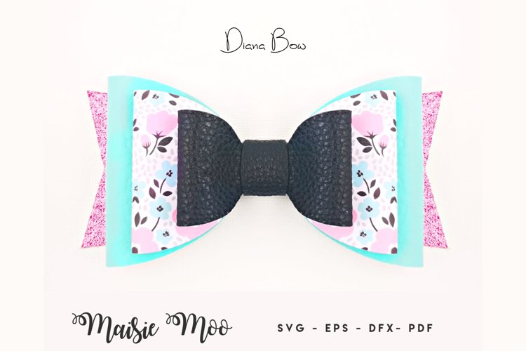 Bow Template, Faux Leather Bow SVG, Pig Tail Bow SVG example image 1