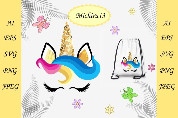 Cute unicorn face with a golden horn example image 1