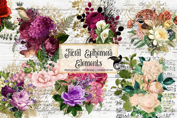 Floral Ephemera Clipart example image 1