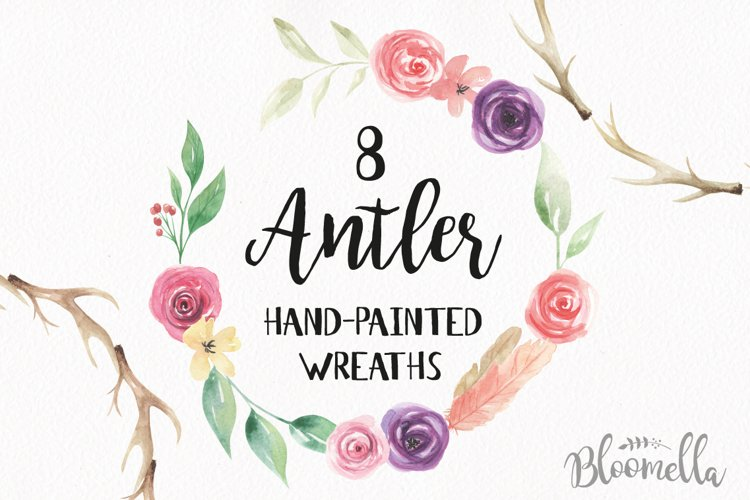 Watercolor Antler Flower Wreath Floral Clipart Set example image 1