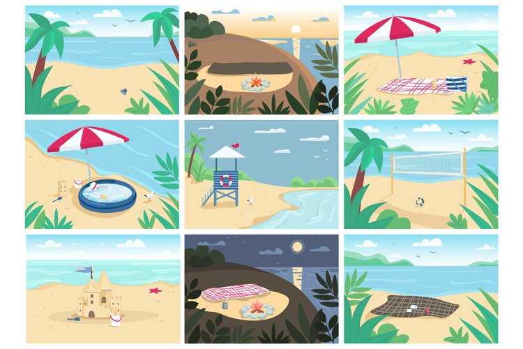 Tropical sand beach and sea flat vector illustrations set example image 1