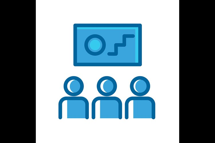 Learning symbol blue icon vector illustration example image 1