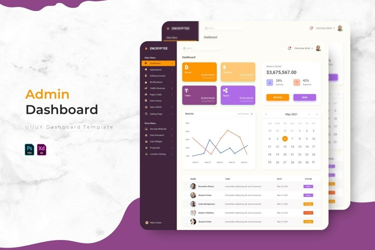 Encryptee - Admin Dashboard Template example image 1