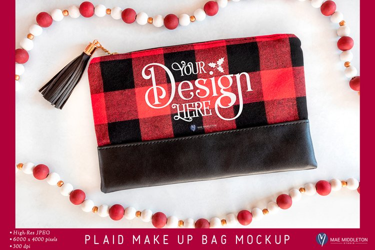 Plaid Makeup Bag Mockup | Styled Photo