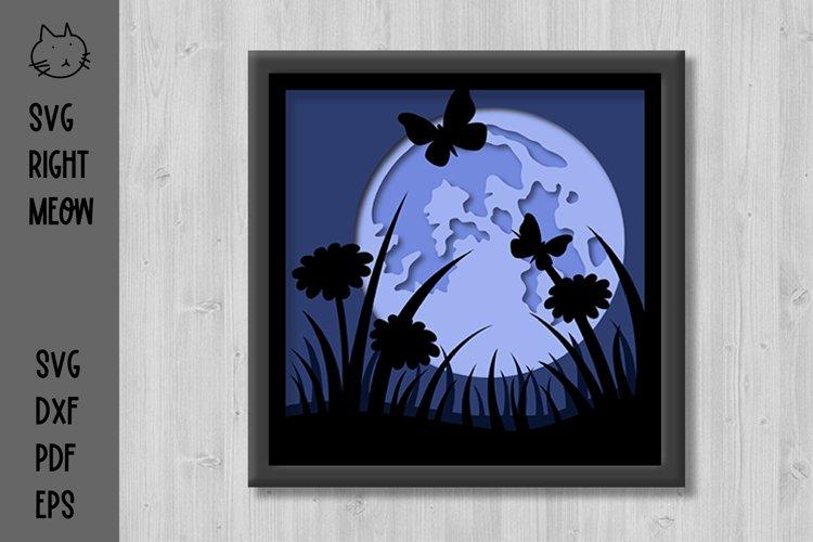 Full Moon Shadow Box Night Meadow 3D Layered Papercut