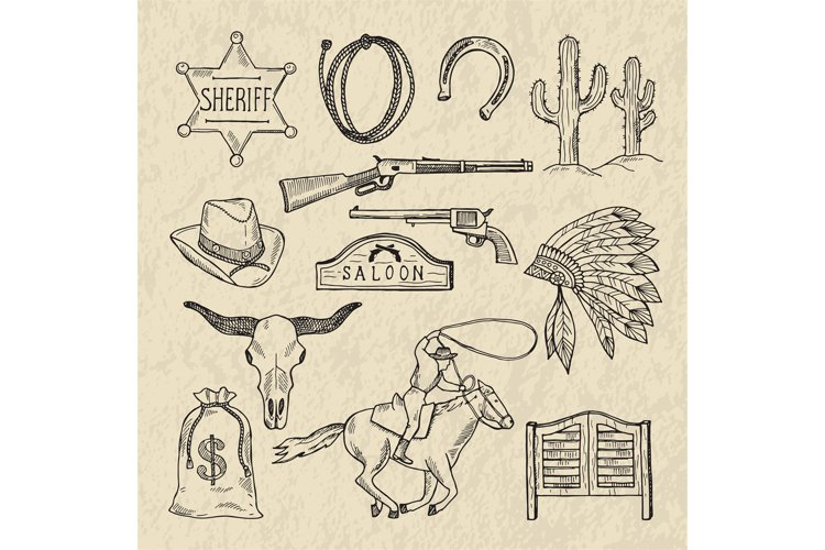 Monochrome hand drawn illustrations of different wild west s example image 1