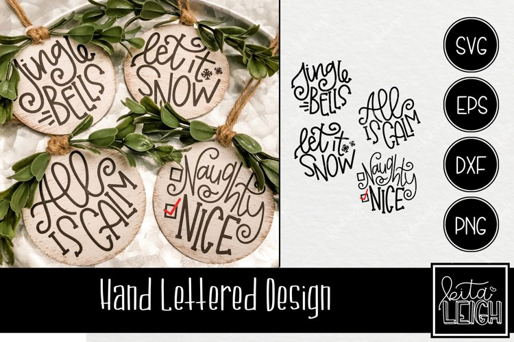Hand Lettered Christmas Rounds 2 SVG example image 1