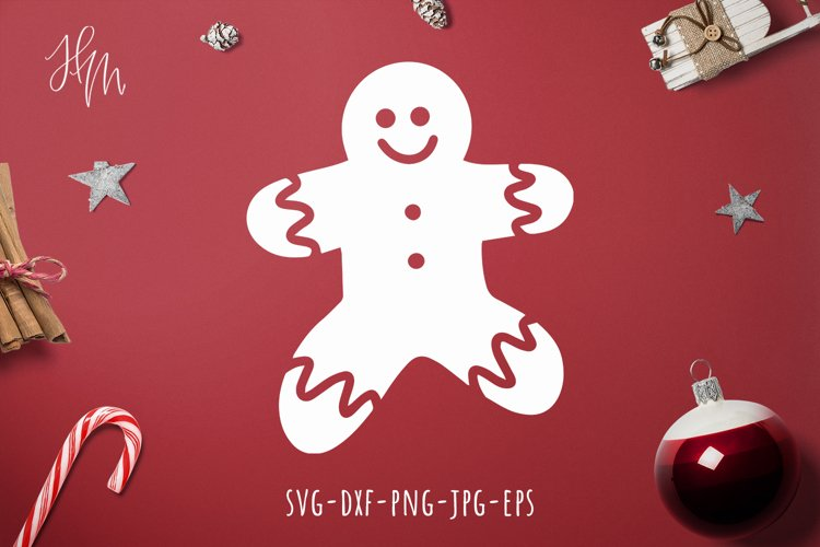 Gingerbread man cut file SVG DXF EPS PNG JPG example image 1